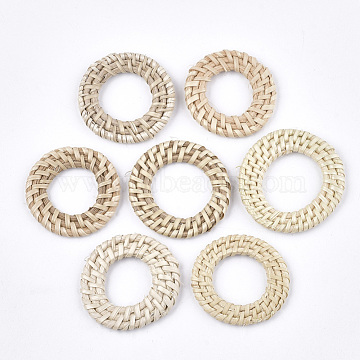 Handmade Reed Cane/Rattan Woven Linking Rings, For Making Straw Earrings and Necklaces, Ring, AntiqueWhite, 45~50x4~6mm, Inner Diameter: 22~28mm(X-WOVE-T006-064)