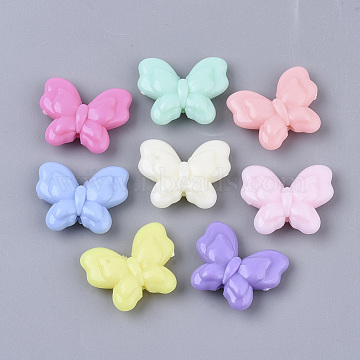 Opaque Acrylic Beads, Butterfly, Mixed Color, 17.5x21.5x6mm, Hole: 1.8mm(X-SACR-T349-003)