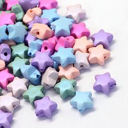 Прорезиненные стиль непрозрачной акриловые бусины, звезда, разноцветные, 11x11.5x6 мм, отверстие : 2 мм(X-MACR-S803-M)