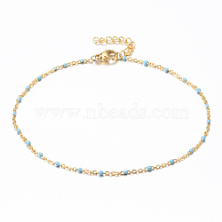 304 Stainless Steel Cable Chain Anklets, with Enamel Links, Golden, SkyBlue, 9inches(23cm); 1.5~2mm(X-AJEW-H010-01F)