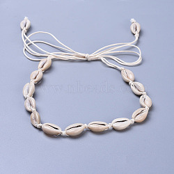 """Colliers de lariat ajustables en perles de nacre, avec des cordons de coton ciré, palegoldenrod, 35.8"""" (91 cm)(NJEW-JN02394)"""