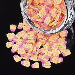 Cabochons en pâte polymère manuels, banane, or, 5~7x4~6x0.5 mm; environ 33330pcs / 500g(CLAY-S091-045)