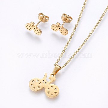 304 Stainless Steel Jewelry Sets, Stud Earrings and Pendant Necklaces, Bike, Golden, Necklace: 17.7inches(45cm); Stud Earrings: 8x11x1.2mm; Pin: 0.8mm(SJEW-O090-07G)