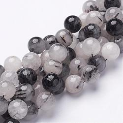 Natural Black Rutilated Quartz Beads Strands, Round, 12mm, Hole: 1mm, 16pcs/strand, 8inches