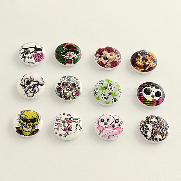 2-Hole Printed Wooden Buttons, Flat Round with Skull Pattern, Mixed Color, 15x4mm, Hole: 2mm(BUTT-Q032-05)