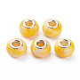 Opaque Resin European Beads, Large Hole Beads, Imitation Gemstone Style, with Silver Tone Brass Double Cores, Rondelle, Yellow, 14x9.5mm, Hole: 5mm
