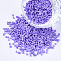 Glass Bugle Beads, Uniform Seed Bead Size, Baking Paint, Round Hole, Lilac, 1.5~2x1~2mm, Hole: 0.8mm; about 4000pcs/bag; about 50g/bag
