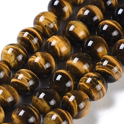 Natural Tiger Eye Round Bead Strands, Grade A+, 10mm, Hole: 1mm; about 40pcs/strand, 15.5inches