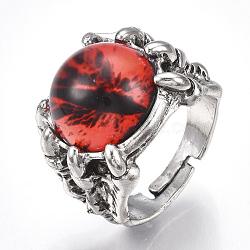 Bagues réglables en alliage de verre, anneaux large bande, oeil de dragon, rouge, taille 10, 20mm(RJEW-T006-02D)