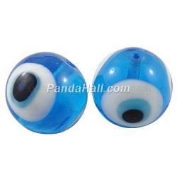 Perles vernissées manuelles, mauvais œil, bleu ciel, 8mm, Trou: 2mm(X-DT250J-7)