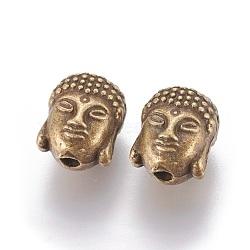 тибетском стиле шарики сплава, Голова Будды, никель свободный, античная бронза, 10x9x8 mm, отверстия: 2 mm