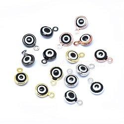Breloques vernissées de mauvais œil manuelles, avec les accessoires en laiton, plat rond, noir, couleur mixte, 10x6.5x3mm, Trou: 1.5mm(KK-F764-13-01)