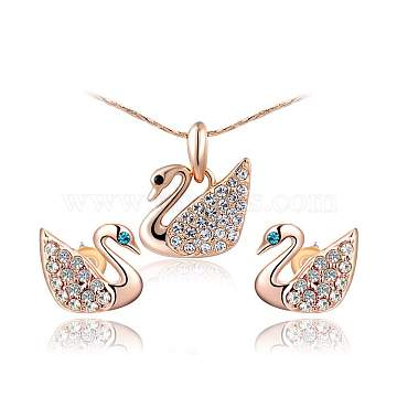 Real Rose Gold Plated Eco-Friendly Alloy Czech Rhinestone Swan Pendant Necklaces and Earrings Jewelry Sets, 18.11 inches; 12x12mm(SJEW-AA00031-050RG)