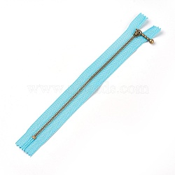 Garment Accessories, Nylon Closed-end Zipper, with Metal Zipper Puller, Zip-fastener Component, Antique Bronze, DarkTurquoise, 23.7~24.1x2.8x0.2cm(FIND-WH0028-03-B01)