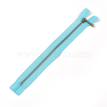 Garment Accessories, Nylon Closed-end Zipper, with Metal Zipper Puller, Zip-fastener Component, Antique Bronze, DarkTurquoise, 23.7~24.1x2.8x0.2cm(FIND-WH0028-03-B01)