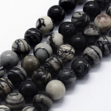 Natural Black Silk Stone/Netstone Beads Strands, Round, 6~6.5mm, Hole: 0.5mm, about 63pcs/strand,  14.96 inches(38cm)(G-I199-11-6mm)
