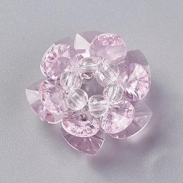 25mm PearlPink Flower Glass Beads