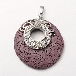 Pendentifs en pierres gemmes ronds plat en alliage de platine plaqué, teint, Mediumpurple, 48x40x10mm, Trou: 7x4mm(G-O024-02B)