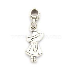 Alliage de style tibétain européens perles de balancent humaine, grosses perles trou de fille, argent antique, 37mm, Trou: 5mm(PALLOY-J377-20AS)