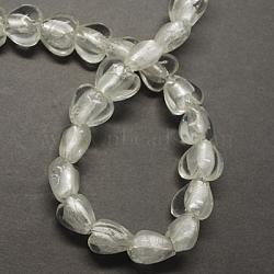 Perles en verre d'argent feuille manuelles, cœur, clair, 20x20x13mm, Trou: 2mm(X-FOIL-R050-20x13mm-17)