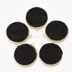pendentifs en alliage, avec un chiffon en cachemire, plat rond, or et de lumière, noir, 32x28x2.5 mm, trou: 2 mm(PALLOY-T056-117B-01)