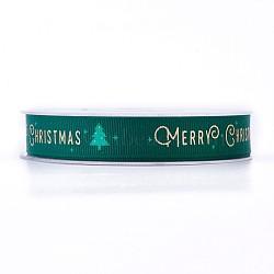 Ruban polyester grosgrain pour Noël, arbres de Noël, verte, 16 mm; environ 100 mètres / rouleau(SRIB-P013-A01)