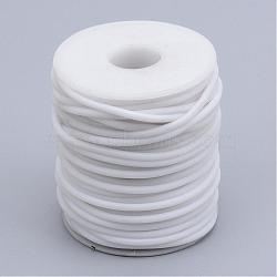 Tuyau creux corde en caoutchouc synthétique tubulaire pvc, enroulé aurond de plastique blanc bobine, blanc, 2mm, trou: 1 mm; environ 50 m / rouleau(RCOR-R007-2mm-08)