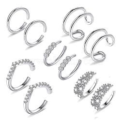 boucles d'oreilles manchette en laiton zircon cubique micro pavé, platine, 13.2x13x1.1 mm, 5 PCs / ensemble(EJEW-G270-01P)