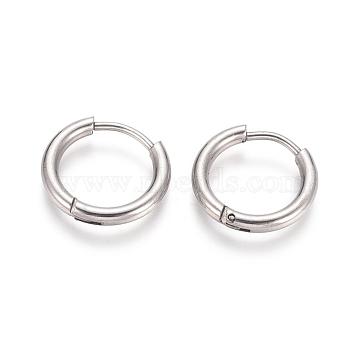 304 Stainless Steel Huggie Hoop Earrings, Hypoallergenic Earrings, with 316 Surgical Stainless Steel Pin, Stainless Steel Color, 12 Gauge, 14x2mm, Pin: 1mm(X-EJEW-F111A-14mm-P)