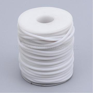 Hollow Pipe PVC Tubular Synthetic Rubber Cord, Wrapped Around White Plastic Spool, White, 2mm, Hole: 1mm; about 50m/roll(RCOR-R007-2mm-08)