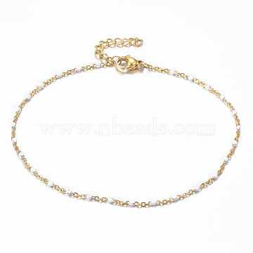 304 Stainless Steel Cable Chain Anklets, with Enamel Links, Golden, White, 9 inches(23cm), 1.5~2mm(AJEW-H010-01E)
