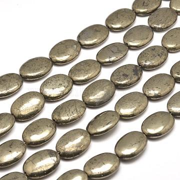 18mm DarkKhaki Oval Pyrite Beads