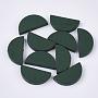 Dark Green Half Round Wood Beads(WOOD-N004-B-02)
