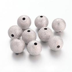 Perles en laiton texturées, sans nickel, rond, couleur platine, taille: environ 10mm de diamètre, Trou: 1.8mm(EC226-NF)