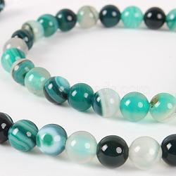 """Chapelets de perles rondes en pierre d'agate naturelle, teint, darkcyan, 6mm, trou: 1mm; environ 63 pcs/chapelet, 15.35""""(G-E232-14)"""