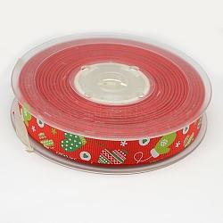 """Ruban gros-grain gants noël imprimé pour le paquet de cadeau de Noël, rouge, 1"""" (25 mm); environ 100yards / rouleau (91.44m / rouleau)(SRIB-D009-25mm-01)"""