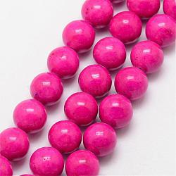 """Perles fossiles, teint, rond, rose foncé, 6mm, trou: 0.8mm; environ 66 pcs/chapelet, 16""""(G-SR6MM-FS26)"""