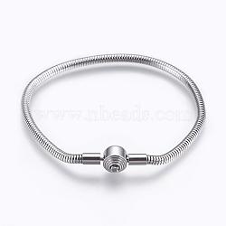 """304 acier inoxydable étoffe bracelet de style européen, avec fermoirs et chaînes serpent rondes, couleur inoxydable, 7-7/8"""" (20cm); 3mm(STAS-I097-002C-P)"""