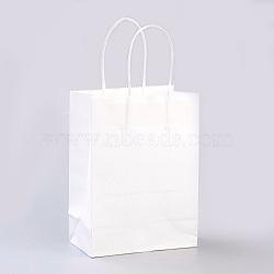 Sacs en papier kraft de couleur pure, sacs-cadeaux, sacs à provisions, avec poignées en corde de nylon, rectangle, blanc, 33x26x12 cm(AJEW-G020-D-03)
