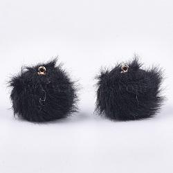 pendentifs recouverts de tissu en peluche à la main, avec des découvertes en plastique ccb, boule de pom pom, arrondir, or, noir, 21x18 mm, trou: 1.5 mm(WOVE-T010-01F)