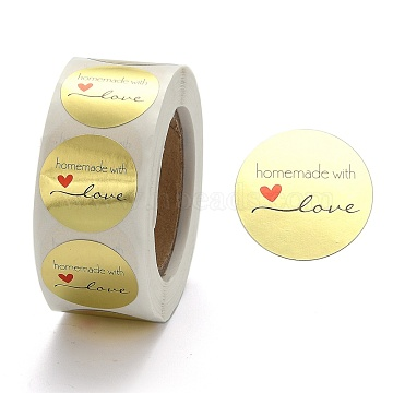 DIY Scrapbook, Decorative Adhesive Tapes, Flat Round with Word Handmade with Love, Gold, 25mm, about 500pcs/roll(X-DIY-L028-A22)