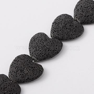 26mm Black Heart Lava Beads