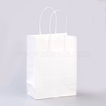 Pure Color Kraft Paper Bags, Gift Bags, Shopping Bags, with Paper Twine Handles, Rectangle, White, 33x26x12cm(AJEW-G020-D-03)
