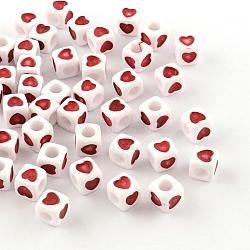 Perles européennes en acrylique opaque, grandes perles de cube de trous, avec un motif de coeur, rouge, 7x7x7mm, Trou: 4mm(X-OPDL-S078-04)