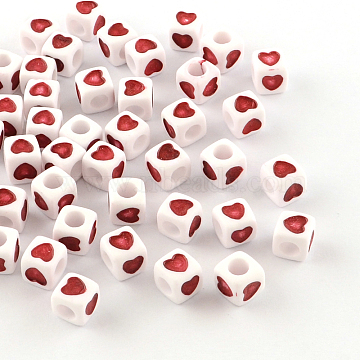 Opaque Acrylic European Beads, Large Hole Cube Beads, with Heart Pattern, Red, 7x7x7mm, Hole: 4mm(X-OPDL-S078-04)