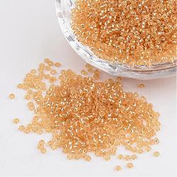 FGB & reg perles de rocaille, palegoldenrod 11/0 rondes perles de rocaille en verre transparent, Grade a, trou rond argenté, 2x1.5mm, trou: 0.3 mm; environ 3300 pcs / 50 g(X-SEED-Q007-F33)