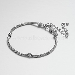 Laiton bracelet fabrication de bijoux, platine, 190x3mm(MAK-J012-01P)