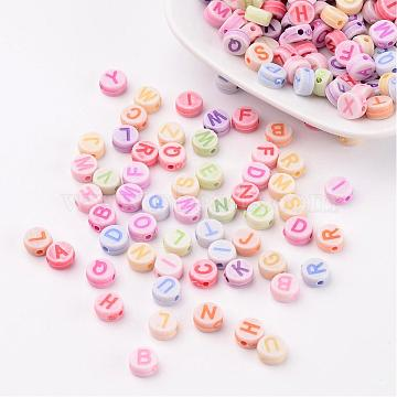 Initial Acrylic Beads, Flat Round, Mixed Color, about 7mm in diameter, 3.5mm thick, hole: 2mm(X-PL085)