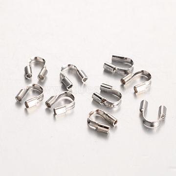 Environmental Rack Plating Brass Wire Guardians, Lead Free & Cadmium Free & Nickel Free, Platinum, 5x4x1mm, Hole: 0.5mm(KK-I606-30P-NR)