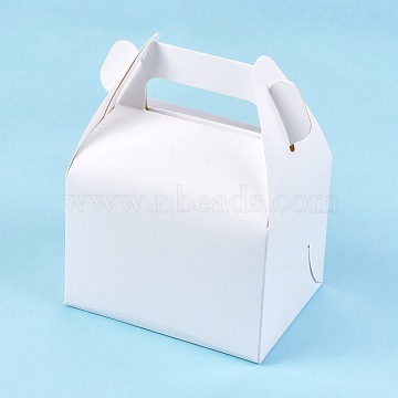 Foldable Kraft Paper Box, Gift Packing Box, Bakery Cake Cupcake Box Container, Rectangle, White, Unfold: 42.7x22.5x0.03cm; Finished Product: 11.5x8.5x15cm.(CON-K006-01A-02)